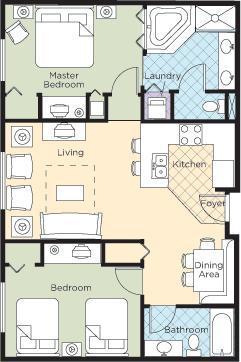 Floor plan - Wyndham Grand Desert Resort 2Br Near Strip - Las Vegas - rentals