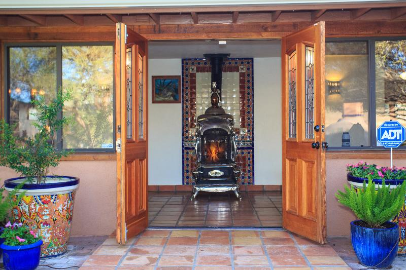Parlor stove in foyer greets you. - ARIVACA - Hacienda Los Pajaro's - Arivaca - rentals