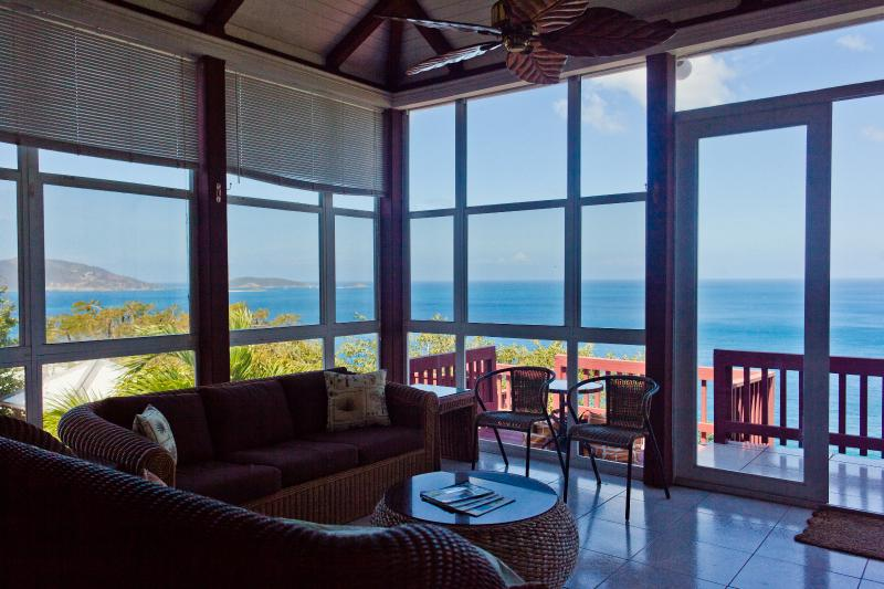 "Great Room View to Jost van Dyke - Apple Bay Surf House ""best view of the beach"" - Tortola - rentals"