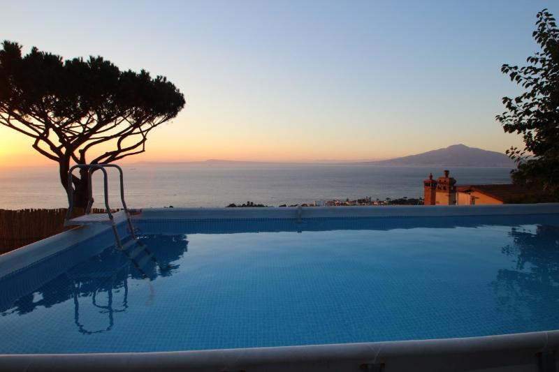 The above ground pool overlooking the Bay of Naples - Wonderful villa view, pool, 3br/2ba in Sorrento - Sorrento - rentals