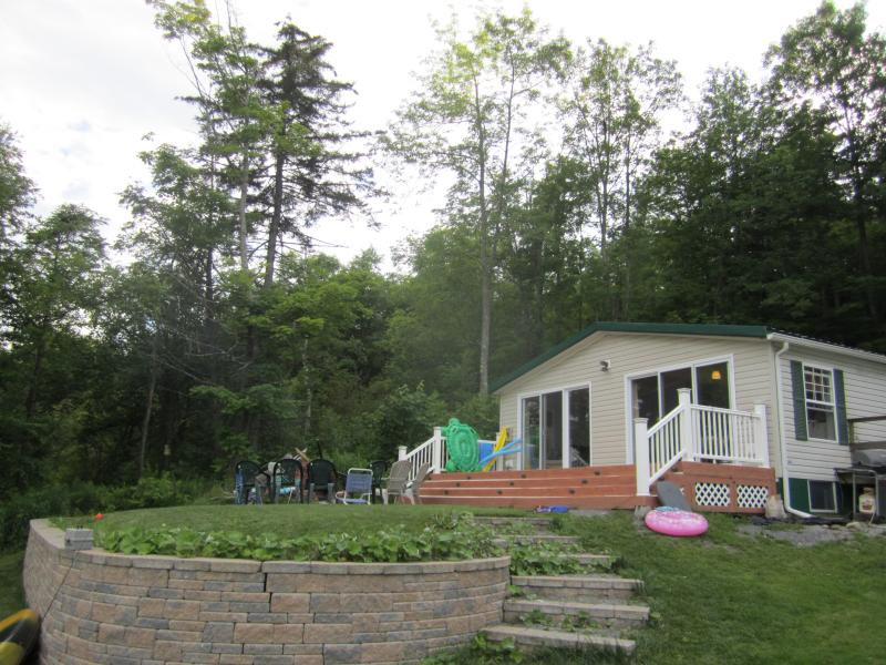 View from beach up to house - Lakefront Home near Howe's Cave and Cooperstown - Summit - rentals
