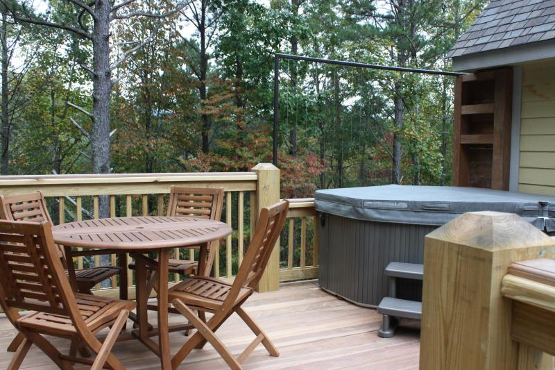 Deck outside apartment with hot tub - 1 Min from Relaxation. 20 Min from Everywhere Else - Fairview - rentals