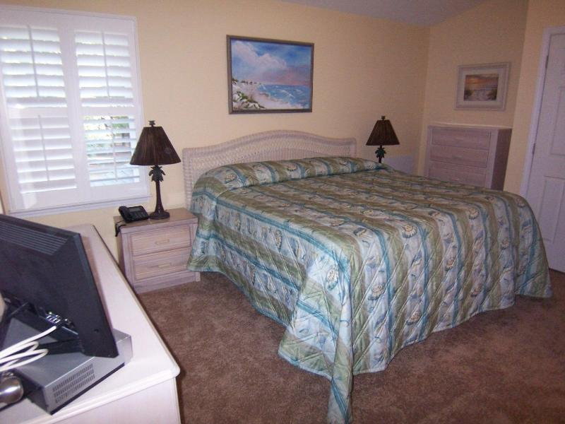 Bedroom with king bed and foam topper (very comfortable!); en suite bath - 2 BR, 2 BA (3DV2), Sea Trail Sunset Beach, NC - Sunset Beach - rentals