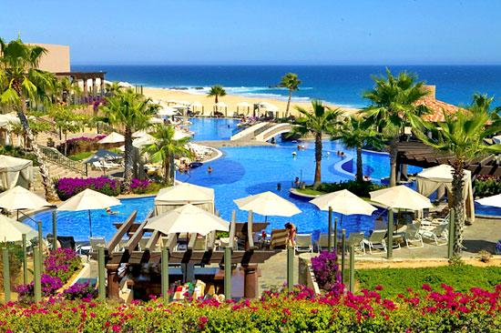 View of Main Pool and Beach - Junior Suite at Pueblo Bonito Sunset Beach - Beach - Cabo San Lucas - rentals