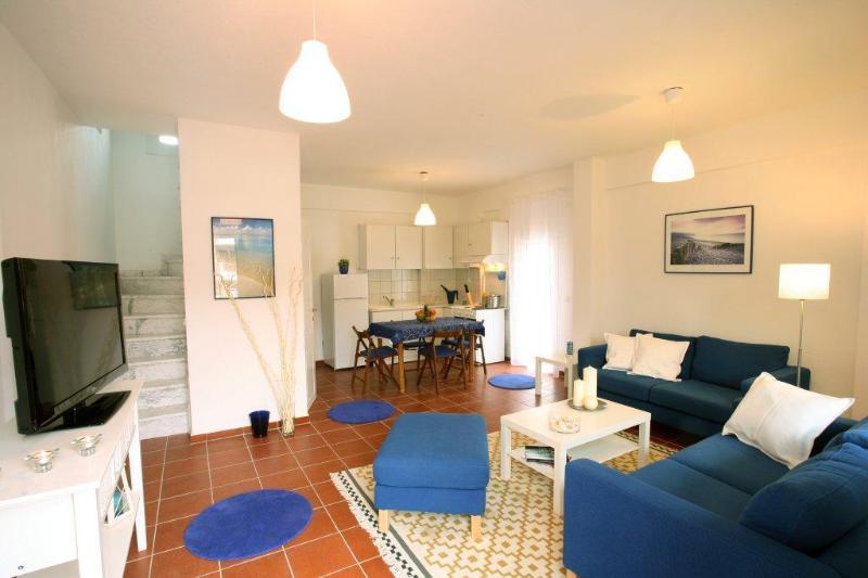 Living Area - Gerakina Skala - Blue House - Kalyves Polygyrou - rentals