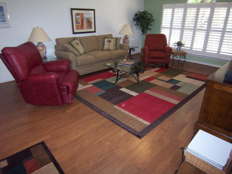 Upstairs villa living room (1 of 2) is spacious and bright - 3 BR 3 BA (3C3) Condo at Sea Trail Golf Resort, NC - Sunset Beach - rentals