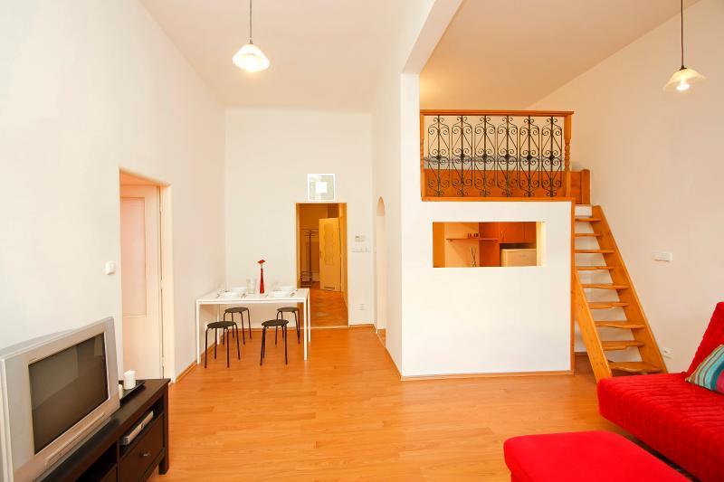 main living room with mezzanine level bed - Reznicka Budget Apartment - Prague - rentals