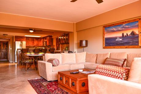 beautiful living room and dining area in Casa Expedition - *Brand New* 2 bedroom Condo ~ steps to best beach - Cabo San Lucas - rentals