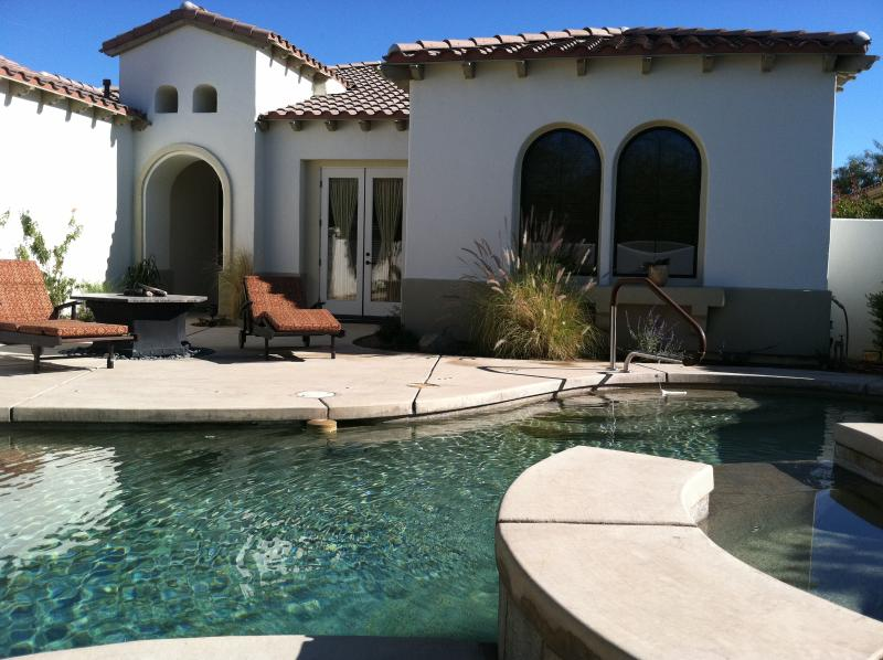Front Patio with Pool and FirePit - 3 BR/3BA Private Luxury Home W/Pool/ Spa & Views! - Palm Desert - rentals