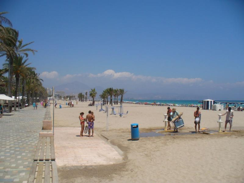 Beach across street from apt, has showers, sandy beach. cafes, restaurants  on palm shaded promenade - Costa Blanca Spain Apartment Holiday Rental - Alicante - rentals