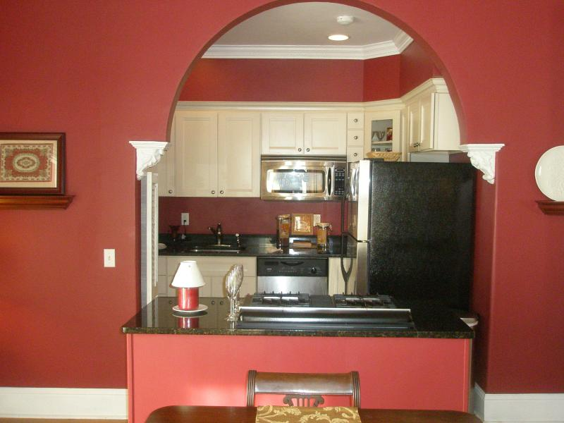View of kitchen from dining room - Elegant condo in Newport, RI Historic District - Newport - rentals
