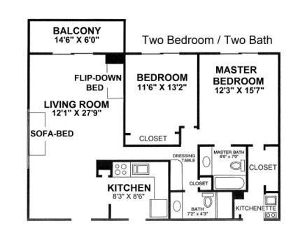 2 Bedroom 2 bath Floor Plan, sleeps 8 - Fort Lauderdale Beach Resort - Fort Lauderdale - rentals