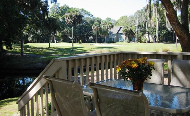 Private rear deck with a table to enjoy your morning coffee or afternoon wine and cheese! - 3 BR Nearest to Beach on Lagoon-Golf View-2 Decks - Hilton Head - rentals