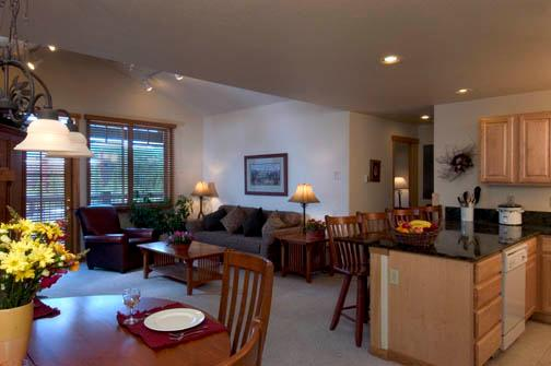 Living Room, Balcony and full Kitchen - New Year's Week - Breckenridge, CO  Ski-in/Out - Breckenridge - rentals
