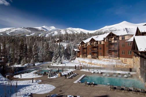 Winter exterior and outdoor pool - Grand Timber Lodge, New Years Week 12/31/16-1/7/17 - Breckenridge - rentals