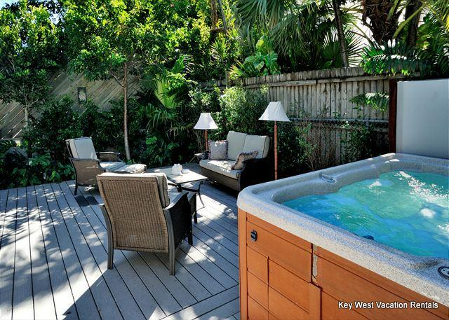 Property's Private Eight Person Hot Tub and Comfortable Outdoor Seating Area - Abbey Road - Great for Big Parties! - 4 Luxury Units - 4 Private Hot Tubs - Key West - rentals
