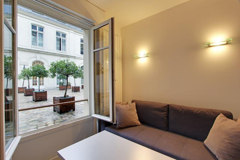 Living room with view on court of honor - Pretty Studio Odeon Pont Neuf near Ile de la Cite - Paris - rentals