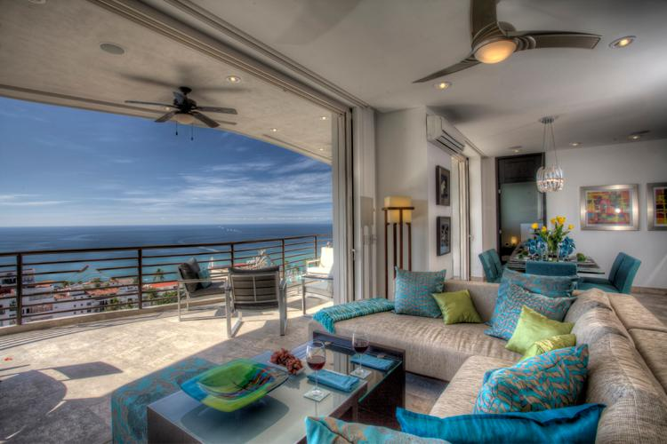 Living Area with outside 45'-long terrace and private dipping pool - Signature 406, Private Dipping, Luxury Unit 1900sf - Puerto Vallarta - rentals
