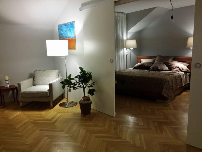 Living room, view to bedroom - Luxury loft apartment in the heart of the city - Prague - rentals