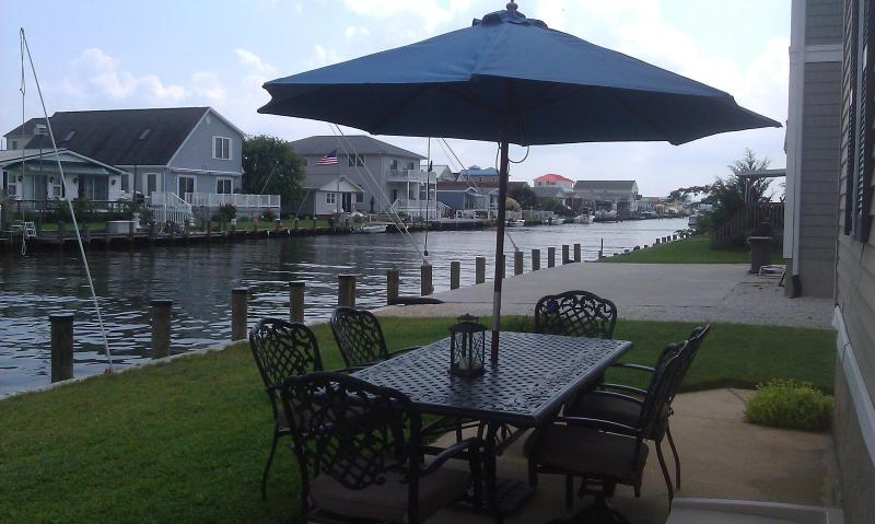 Patio dining and waterfront docking - Fenwick Island Waterfront 3BR Home, Bay access - Selbyville - rentals