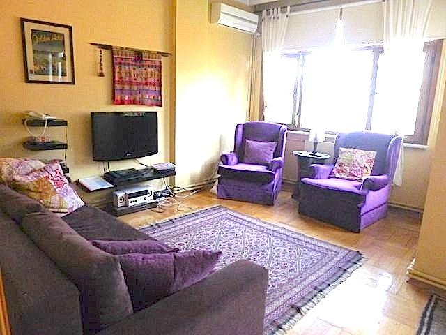 Sunny salon leads to balcony and has (unshown in this photo) alcove with additional seating & light - 25% off April 11-30, sunny, spacious, central - Kozakli - rentals