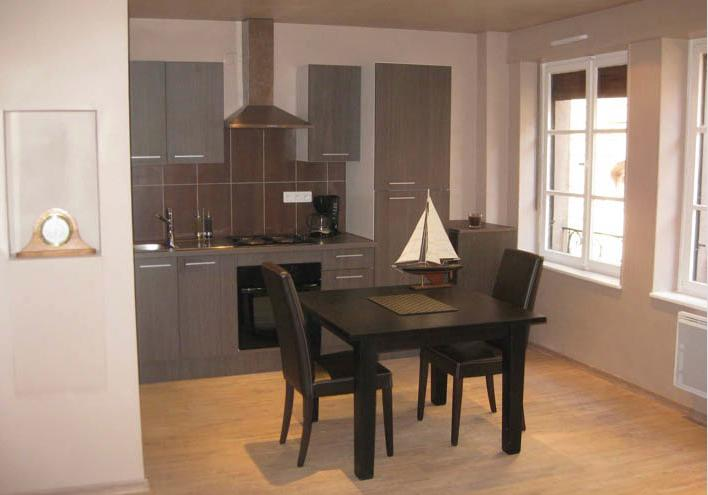 Kitchen and dining area of main room - One-Bedroom Apartment, 1 minute walk from Strasbourg Cathedral, Old Town - Strasbourg - rentals