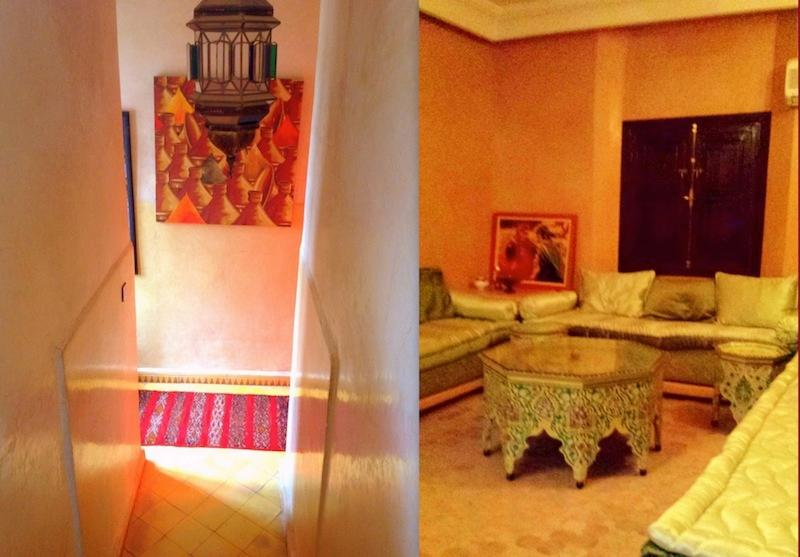 Moroccan Salon and stairs leading to private terrace - Beautiful, Peaceful Villa - Mohammed VI area of Marrakech - Marrakech - rentals