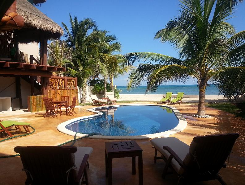 From house towards ocean - Private House-Casa Bella One of a Kind-Ocean Front - Puerto Morelos - rentals