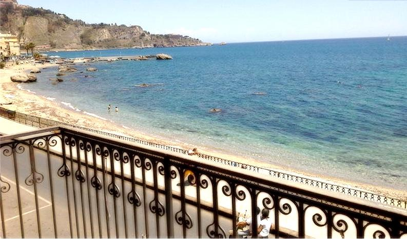 Seafront Balcony view - Apartment  in the center of Giardini Naxos seaside - Giardini Naxos - rentals