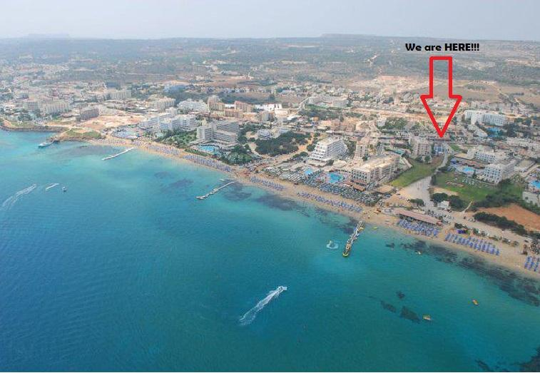 Panoramic view to see that we are in the HEART of PROTARAS,2 minutes from the amazing Sunrise beach! - 'Leukolla' 2 Bedroom Sea View apar.Protaras Centre - Protaras - rentals