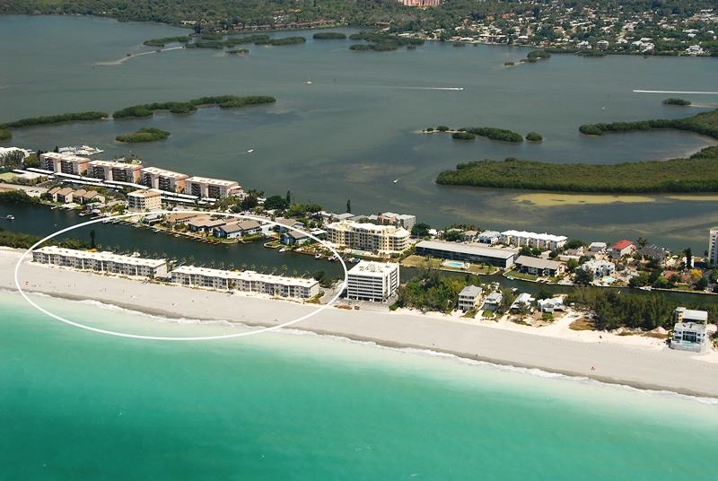 Aerial view of Fisherman's Cove Condo at Turtle Beach - On Siesta Key Florida - Beachfront - 2 Bedroom - Ground Floor - Siesta Key - Siesta Key - rentals