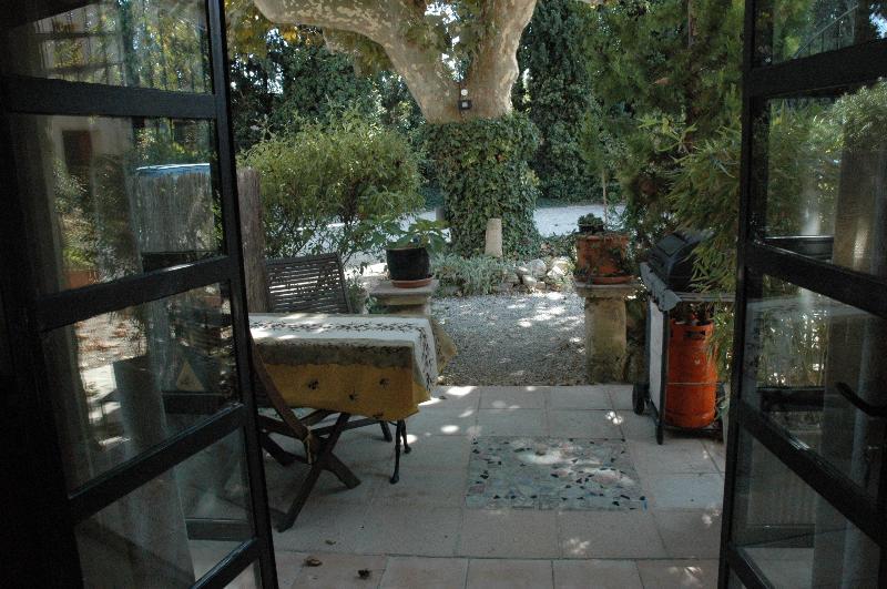 "Looking out over terrace - ""Le Kiwi"" converted barn, sleeps 2, pool, Provence - Rognonas - rentals"