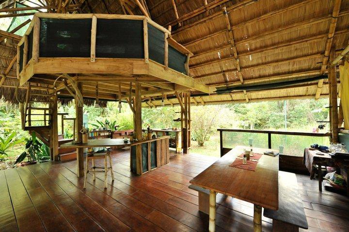 Casa Interior- loft bedroom above and kitchen - Bamboo Jungle Beach House - Puerto Jimenes - rentals