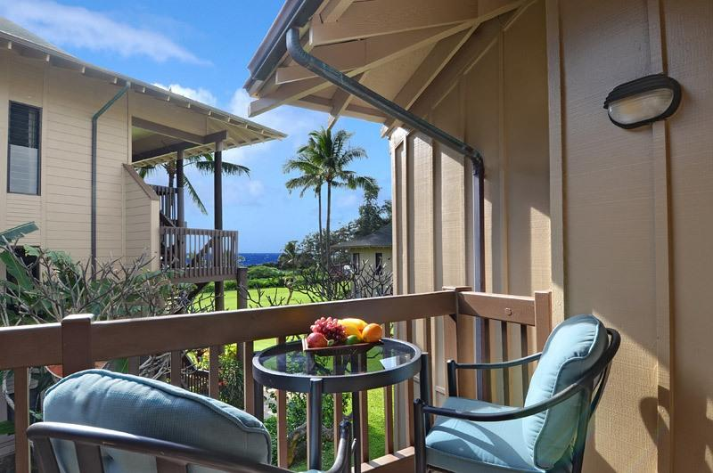 Ocean View from the lanai, have coffee outdoors, or watch the sunrise - Kaha Lani 216, Beachfront Resort near Kapaa, $1050 per week, 2bdrm/2bath, Ocean Views, 960 sq feet - Lihue - rentals