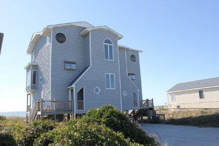 Exterior Streetfront -West (right) - Hover Inn- SUN- 4BR - Emerald Isle - rentals