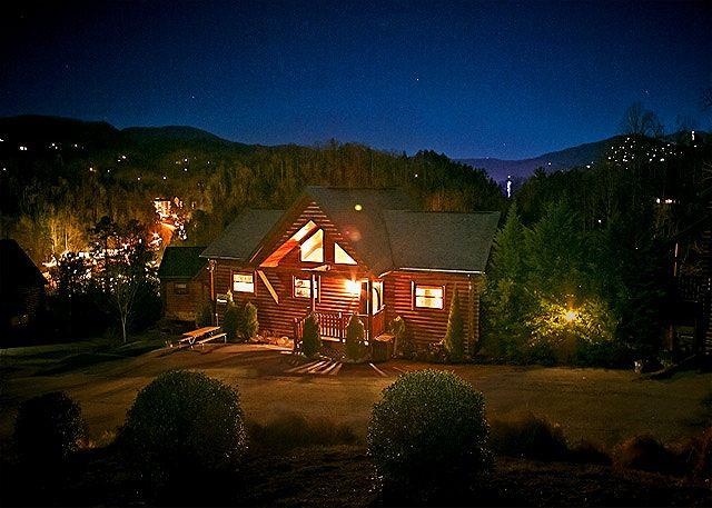 Front of Smoky Mountain Dream with Gatlinburg in the Distance - 4BR Luxury Cabin w/ Hot Tub, Arcade, 6 TVs, WiFi, & Pool Table!!! Sleeps 14. - Gatlinburg - rentals