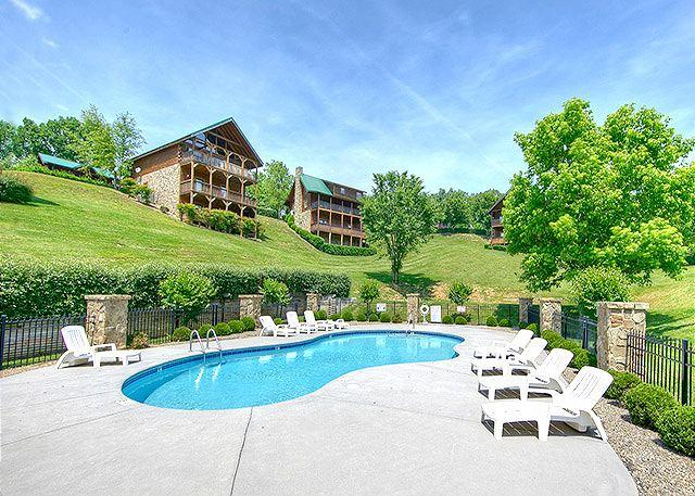 Beautiful pool area for serious fun in the sun - Summer from $89!!! 2BR Cabin w Hot Tub, Pool Table, & Perfect Location. - Pigeon Forge - rentals