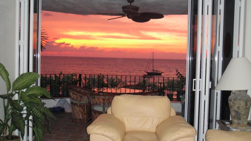 Sunset view from your vacation home in Puerto Vallarta! - Beachfront Old Town Puerto Vallarta Condo Rental - Puerto Vallarta - rentals