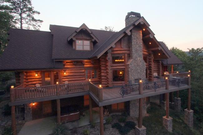 """Bear Paw Lodge at twilight, view of back elevation - 20% Off in Summer! """"Bear Paw Lodge"""" Luxury Log Cabin, Outdoor F'place Year-Round - Gatlinburg - rentals"""