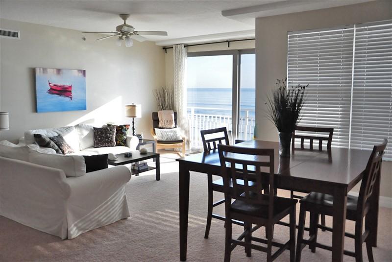 Living Room / Dinig Area - Fall $pecials - Opus Condominium #304 - Direct Oceanfront - Daytona Beach - rentals