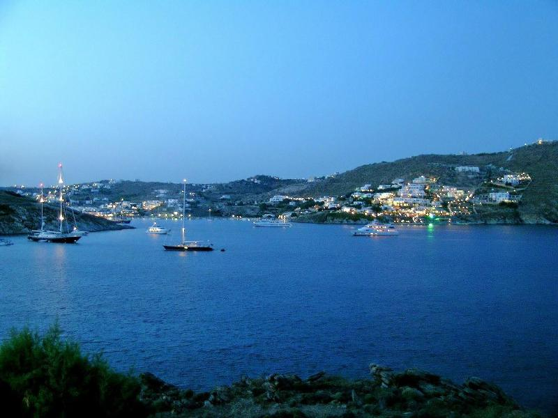 Evening view from the Terrace - Waterfront house Mykonos - Ornos - rentals