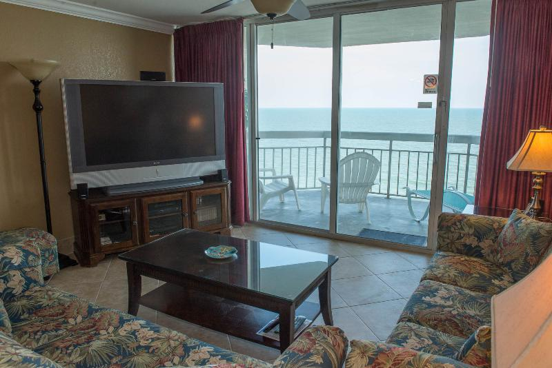 Ocean front Living Room - Direct Ocean Front Condo 1BR/2BA Vacation Rental Property - Garden City Beach - rentals