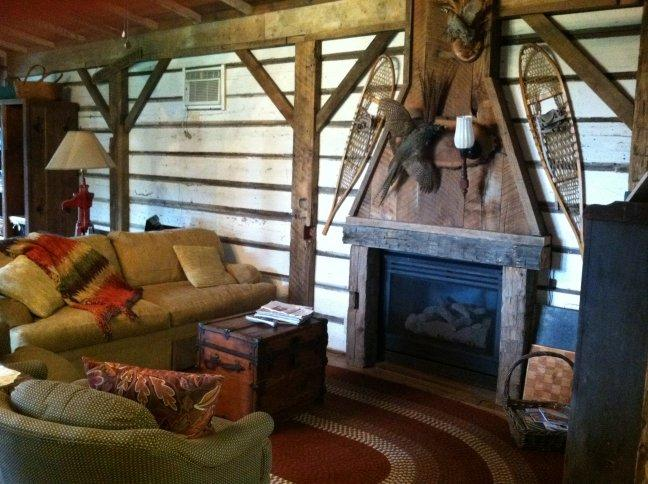 Living room area with large wall flat screen, WiFi, cable TV, games, reading and tourist information - Cabin - Hot Tub, Fire Pit, near Cedar Point - Bellevue - rentals