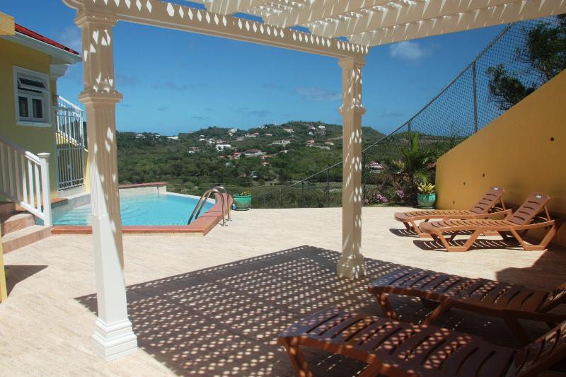 Infinity pool deck with golf course views - South Sea House Apt 1 - Luxurious But Great Value 2 Bed Apt in Cap Estate W/Private Plunge Pool & Ocean Views - Cap Estate, Gros Islet - rentals