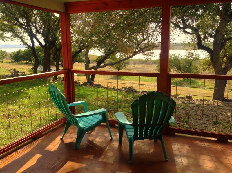 Sit on back patio & view the lake & wildlife - Waterfront 3/2, Near Marina, Great Views and Sunsets, Covered Patio - Canyon Lake - rentals