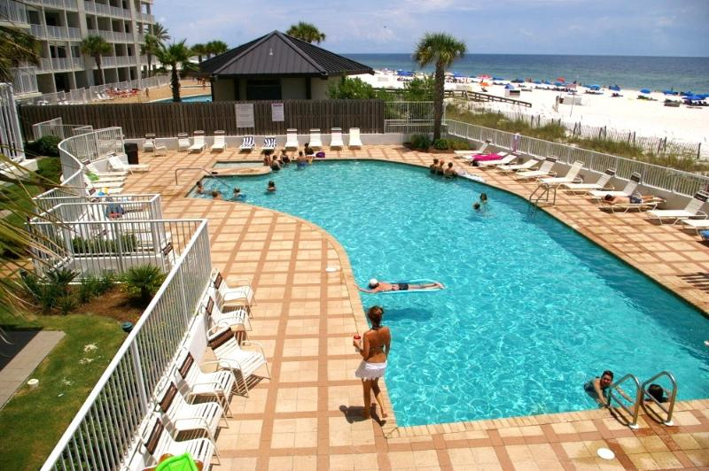 Outdoor pool with ample sun bathing area - Shoalwater 906~ 3/3 Corner unit with FABULOUS views - Orange Beach - rentals