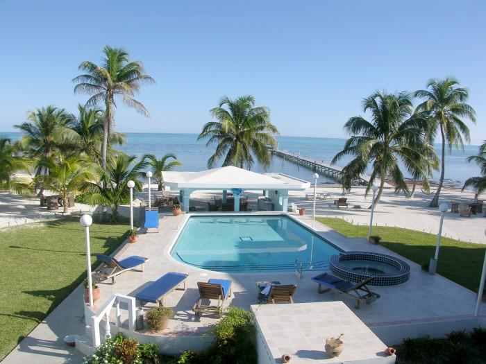 View from your balcony! Private pool, beach and view of the turquoise waters of the Caribbean! - 3 bedroom condo on your own private beach! -A6 - San Pedro - rentals