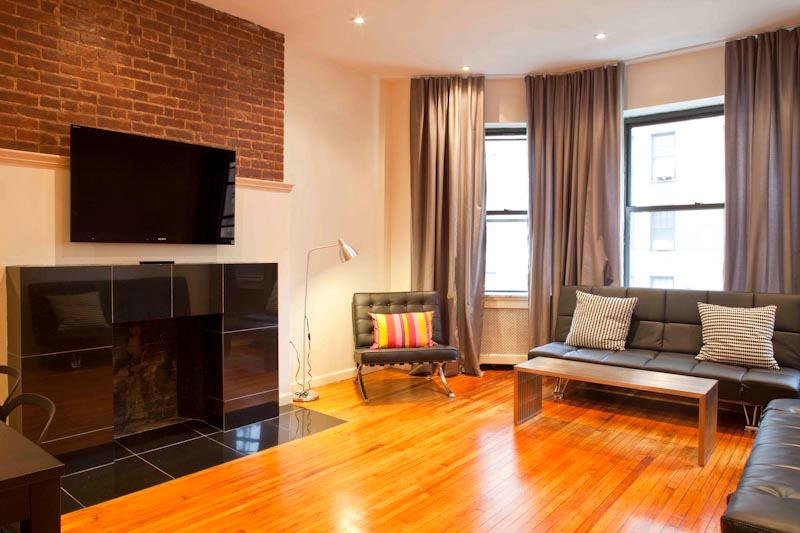 Spacious living room with triple windows Original fireplace & modern granite mantle and surround - *CONSTELLATION* SPACIOUS! 2 bedroom  Upper W. Side - New York City - rentals