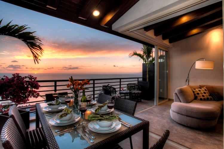 "Year Round Sunsets on West Facing  Corner Terrace as Featured on HGTV ""House Hunter's International. - TRAVELERS CHOICE WINNER Corner OceanView Penthouse - Puerto Vallarta - rentals"