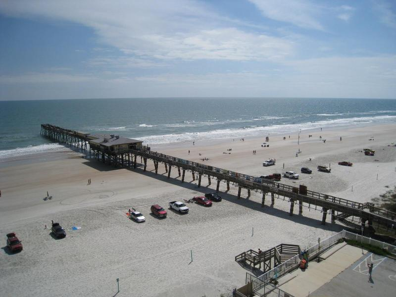 SE Balcony View of Atlantic Ocean & The Famous Sunglow Pier - John's Ocean Getaway - Ocean Front Full Size Condo - Daytona Beach - rentals